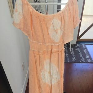 Billabong Maxi Cotton Dress In peach/white flower